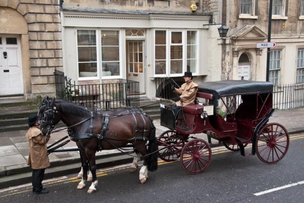 Arriving to The Paragon by carriage style