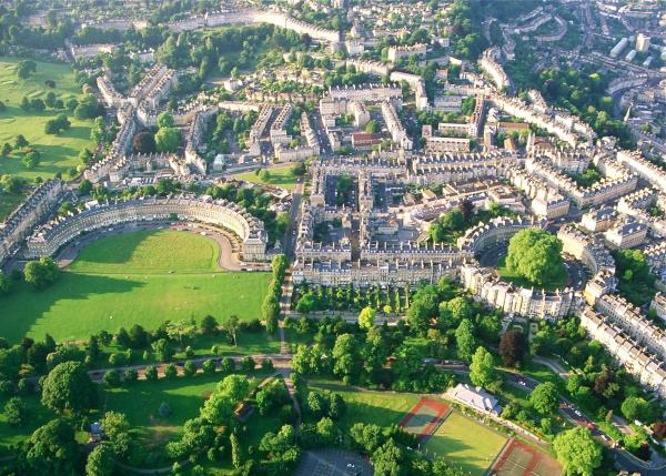 Ariel View of Royal Crescent, The Circus & Margaret's Buildings