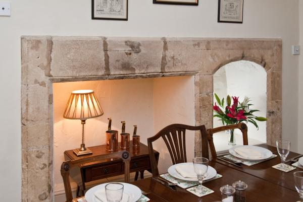 Detail of the pretty formal Dining Room, which was once the old stone Kitchen