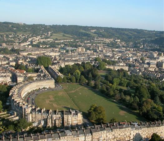 Beautiful aerial view of the Royal Crescent