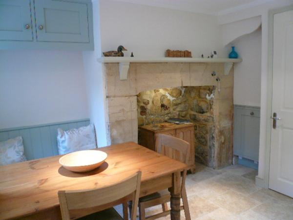 Old Stone Fireplace in Kitchen