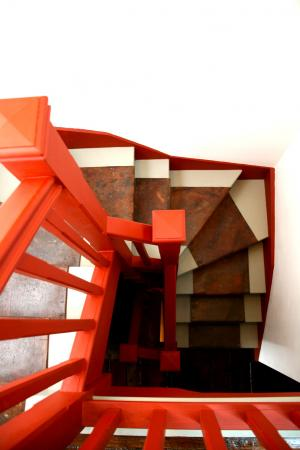 The winding staircase to the loft