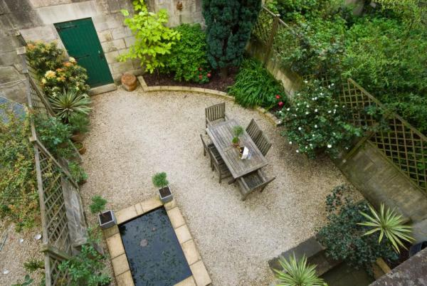 Looking Down from the Bedrooms to the perfect garden