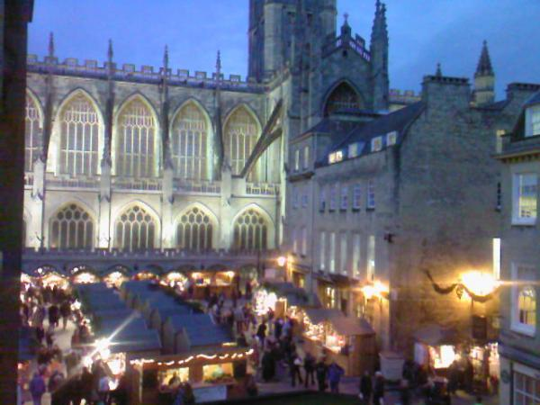 The famous Bath Christmas Fair in the Abbey Courtyard