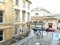 The view to the Roman Baths.