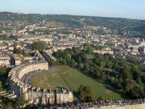 View of The Royal Crescent from a hot air balloon