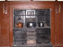 A close up of the kitchen range